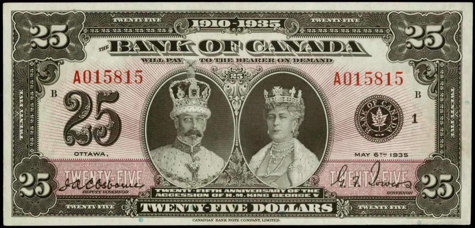 Canada Jubilee Twenty Five Dollar note 1935.JPG