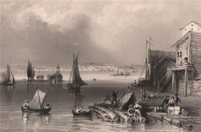 canada-prescott-ontario-from-ogdensburg-harbour-bartlett-old-print-1842-272885-p