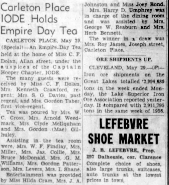 carleton place lindaseccaspina page 12 the ottawa journal 29 1957 wed page 20